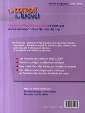 Compil Brevet ; Histoire Géographie ; Brevet 2008 - 4ème de couverture - Format classique