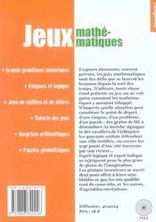Les Jeux Mathematiques (Tgte Hs 20) - 4ème de couverture - Format classique