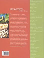 Provence Jardin De Vie - 4ème de couverture - Format classique