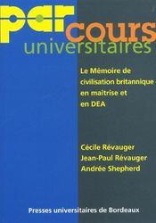 Le Memoire De Civilisation Britanique En Maitrise Et En Dea - Intérieur - Format classique