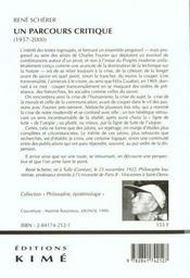 Un Parcours Critique (1957-2000) - 4ème de couverture - Format classique