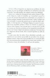 Vers Une Nouvelle Spiritualite ; Reponses A Une Catastrophe Annoncee - 4ème de couverture - Format classique