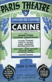 PARIS THEATRE N° 31 - CARINE, pièce en un acte de FERNAND CROMMELYNCK - CHAUD ET FROID, pièce en trois actes de FERNAND CROMMELYNCK - Couverture - Format classique