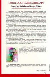 Droit Coutumier Africain - 4ème de couverture - Format classique