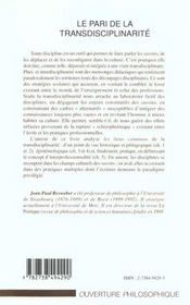 Le Pari De La Transdisciplinarite ; Vers L'Integration Des Savoirs - 4ème de couverture - Format classique