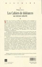 Cahiers De Doleances Une Relecture Culturelle - 4ème de couverture - Format classique