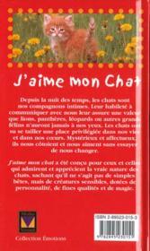 J'Aime Mon Chat - 4ème de couverture - Format classique