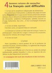 Francais Cent Difficultes - 4ème de couverture - Format classique