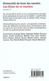 Les Etats De La Matiere - 4ème de couverture - Format classique