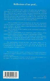 Reflexions D'Un Prof... Credits, Mentalites Et Qualite De L'Ecole - 4ème de couverture - Format classique