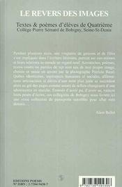 Le revers des images ; textes et poèmes d'élèves de quatrième - 4ème de couverture - Format classique