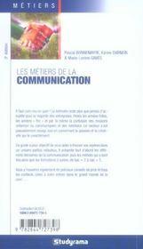 Les metiers de la communication en entreprise, en agence, dans le public - 4ème de couverture - Format classique