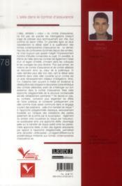 L'aléa dans le contrat d'assurance - 4ème de couverture - Format classique