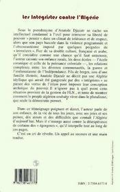 Les Integristes Contre L'Algerie - 4ème de couverture - Format classique