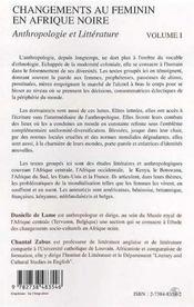 Changements Au Feminin En Afrique Noire ; Anthropologie Et Litterature T.1 ; Anthropologie - 4ème de couverture - Format classique