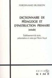 Dictionnaire De Pedagogie Et D'Instruction Primaire - Couverture - Format classique