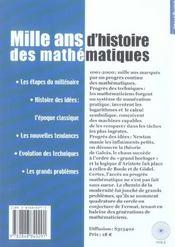 1000 Ans D'Histoire Des Maths -Hs Bib 10 - 4ème de couverture - Format classique