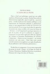 Le Sens De La Peine - 4ème de couverture - Format classique