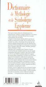 Dictionnaire De Mythologie Et De Symbolique Egyptienne - 4ème de couverture - Format classique