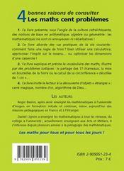 Les maths cent problèmes - 4ème de couverture - Format classique