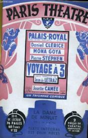 PARIS THEATRE N° 32 - VOYAGE A TROIS, comédie en 4 actes de JEAN DE LETRAZ - LA DAME DE MINUIT, pièce en 3 actes de JEAN DE LETRAZ - Couverture - Format classique