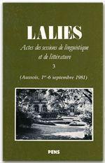 Revue Lalies N.3 ; Septembre 1981 - Couverture - Format classique