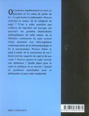 Le Sujet - 4ème de couverture - Format classique