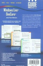 Windows live onecare - 4ème de couverture - Format classique
