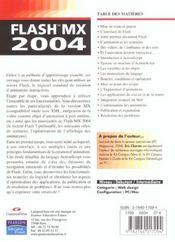 Flash Mx 2004 - 4ème de couverture - Format classique
