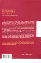 Il Est Grand Le Mystere De La Foi - 4ème de couverture - Format classique