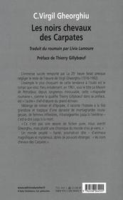 Les noirs chevaux des Carpates - 4ème de couverture - Format classique