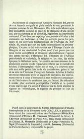 Lecture De L'Oeuvre D'Hampate Ba - 4ème de couverture - Format classique