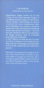 Cap martin ; architecture en bord de mer - 4ème de couverture - Format classique