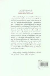 Robert Antelme, L'Humanite Irreductible - 4ème de couverture - Format classique