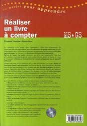 Réaliser un livre à compter ; MS, GS - 4ème de couverture - Format classique