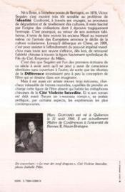 Victor Segalen ; une esthétique de la différence - 4ème de couverture - Format classique