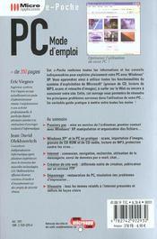 Pc Mode D'Emploi - 4ème de couverture - Format classique