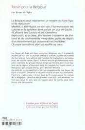 Tocsin Pour La Belgique ? - 4ème de couverture - Format classique