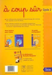 À coup sûr ; cycle 2 ; méthode de lecture ; fichier de l'élève t.1 - 4ème de couverture - Format classique