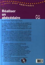 Réaliser un abécédaire ; grande section - 4ème de couverture - Format classique