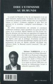 Dire L'Ethnisme Au Burundi ; Recits De Vie De Mutwe Simeho - 4ème de couverture - Format classique