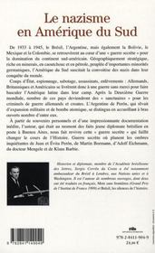 Le nazisme en Amérique du sud ; chronique d'une guerre secrète 1930-1950 - 4ème de couverture - Format classique