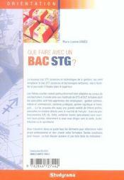 Que faire avec un bac stg - 4ème de couverture - Format classique