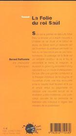 La Folie Du Roi Saul - 4ème de couverture - Format classique
