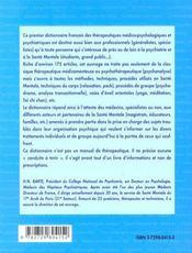 Dictionnaire Des Therapeutiques Medico-Psychologiques Et Psychiatriques - 4ème de couverture - Format classique