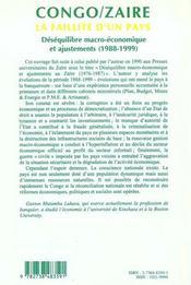 Cahiers Africains N.37-38/99 ; Congo Zaire La Faillite D'Un Pays Desequilibre Macro Economique Et Ajustements 1988-1999 - 4ème de couverture - Format classique