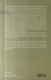 La Decadence Des Intellectuels ; Des Legislateurs Aux Interpretes - 4ème de couverture - Format classique
