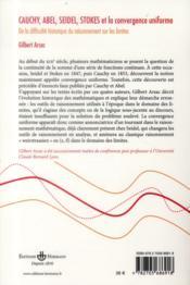 Cauchy, abel, seidel, stokes et la convergence uniforme - 4ème de couverture - Format classique