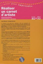 Réaliser un carnet d'artiste ; MS/GS ; impressionnisme, divisionnisme, fauvisme - 4ème de couverture - Format classique