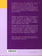15 Grands Auteurs En Sciences Economiques Et Sociales - 4ème de couverture - Format classique